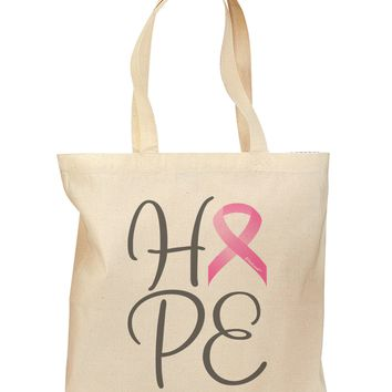 Hope - Breast Cancer Awareness Ribbon Grocery Tote Bag