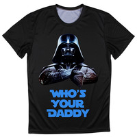 Men T-Shirts Star Wars Inspired Darth Vader Who's Your Daddy Funny Top Tee Normal Neck Clothing Size S-4XL