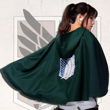 Cool Attack on Titan Anime  Cosplay Cape No  Scouting Legion Hooded Cloak Men Women Halloween Costumes AT_90_11