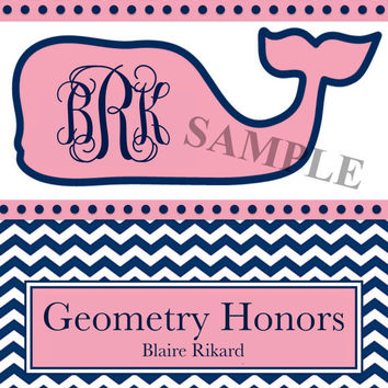 One Personalized Monogrammed Vineyard Vines Inspired Binder Cover (Individual JPEG File)
