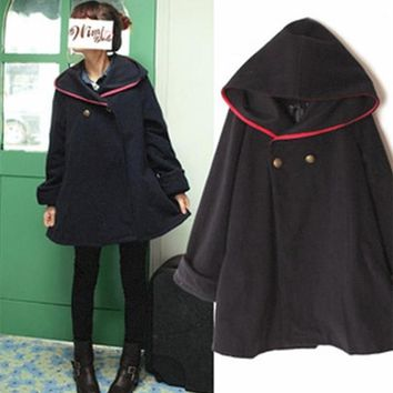 2017 Autumn preppy style wool cloak woolen coat outerwear hooded Little Red Riding Hood COS cape style loose long blends women