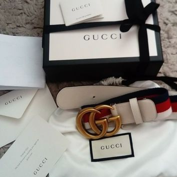 Women's genuine Gucci gg sylvie Web belt leather white red blue brass designer