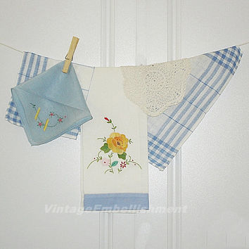 Vintage Blue and White Textile Collection Vintage Doily Vintage Tea Towel Vintage Hanky Vintage Napkins