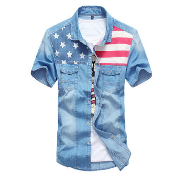Spring Summer Vintage Denim Shirt Men Short Sleeve Blouse Men Fashion Light Blue Jeans Blouse Shirt
