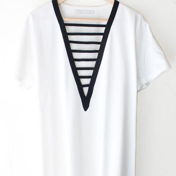 Deep V-neck Tshirt Dress - White