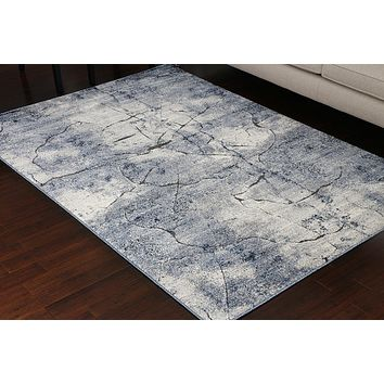 5607 Blue Carved 3D Design Contemporary Area Rugs