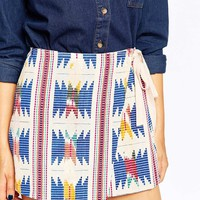 ASOS PETITE Wrap Mini Skirt With Embroidery And Grosgrain Tie