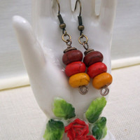 Howlite colourful dangle earrings. Red, Brown, Yellow Earrings, Gemstone Earrings, Handmade Jewelry