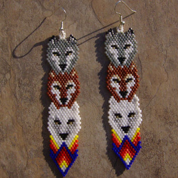 Wolf Totem Earrings Hand Made Seed Beaded