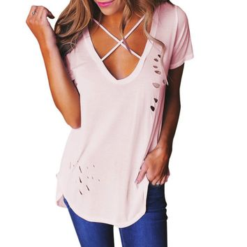 T Shirts Cotton Summer Autumn Sexy Holes T-Shirts Women V-Neck Short Sleeve TShirts Solid Plus Size Holes Loose Tee Tops GV542