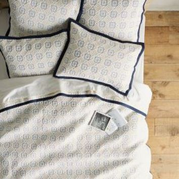 Diamond-Stitched Coverlet in Navy Blue