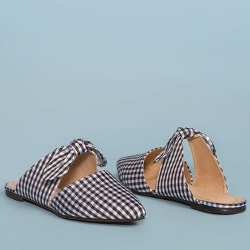 Fiona Bow Pointy Toe Mules - Gingham
