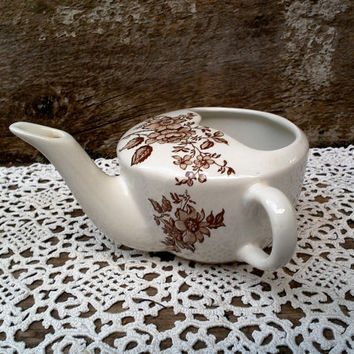 Infant Baby Feeder, Brown Floral Transferware, Ironstone, 1930s, Liquid feeder, English, Syrup Pitcher, Creamer, Toddler feeder