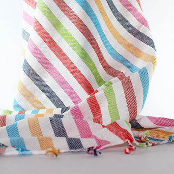 Candy Beach Towel | Striped | Peshtemal | Turkish Beach Towel | Multi Color | Bamboo Turkish Towel | Beach Towel | Bamboo Beach Towel | Yoga