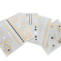 Metallic Temporary Jewelry Inspired Premium Tattoos MOST POPULAR MEGA Value Pack** Trendsetter Flash Fashion Body Art Glam Bling Gold Silver Black Trendy Beautiful Summer Sexy Collection Over 55 Tattoos