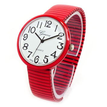 Red Large Size Round Face Stretch Band Women's Watch