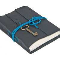 Black Leather Wrap Journal with Key Bookmark
