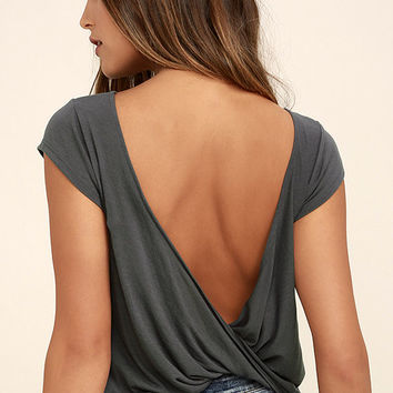 RVCA Label Cowl Back Grey Tee
