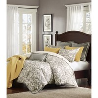 Rhoades Grey Damask Comforter Set