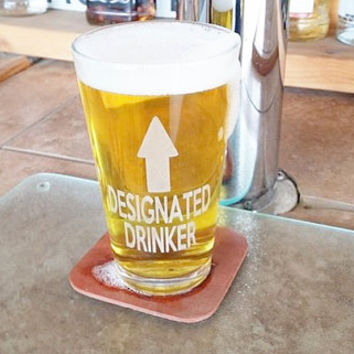 Designated Drinker Beer Glass, Etched Pint Glass, Guy Gift, Girl Gift, Christmas Gift, Beer Gift, Guy Christmas Gift, Drinking Gift
