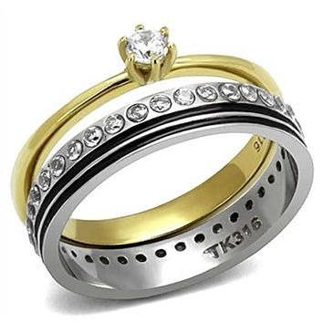 WildKlass Stainless Steel Ring Two-Tone IP Gold (Ion Plating) Women AAA Grade CZ Clear