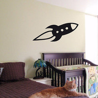 KIDS WALL ART STICKER BABY ROOM NURSERY BOY GIRL BEDROOM SPACESHIP ROCKET 25