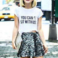You Cant Sit With Us Mean Girls Slogan T-Shirt Gift Lindsay Lohan Chick Flick Film Tumblr Shirt Girly Friend