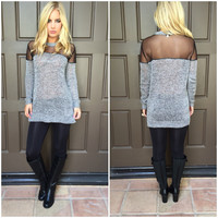 Victoria Mesh Knit Tunic Sweater