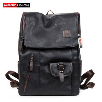 MAGIC UNION Hot Sale Oil Wax Paper Leather Backpacks Western style Fashion Bag For Men Travel Mochila Zip Casual Daypacks