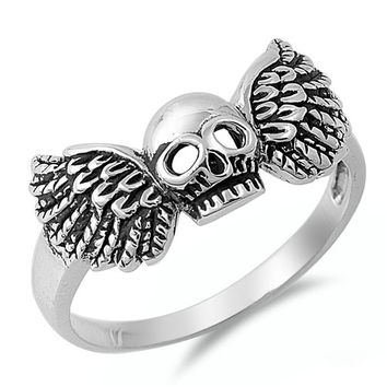 925 Sterling Silver Winged Skull Ring