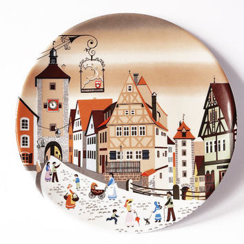 Rothenburg Germany Vintage Decorative 1980s Hand Painted Porcelain Wall Plate Pindish Barbara Fürstenhöfer Collectible Eversberg Bavaria