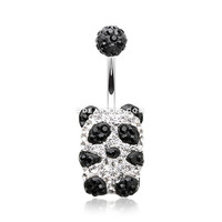 Glistening Panda Multi-Gem Sparkle Belly Button Ring (Black/Clear)
