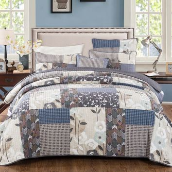 DaDa Bedding Quiet Country Farmhouse Real Patchwork Cotton Quilted Coverlet Bedspread Set (JHW-675)