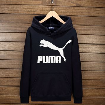 PUMA Women Men Lover Casual Print Long Sleeve Hoodie Top Hooded Sweater Pullover(7-Color) Dark blue I-YSSA-Z