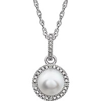 "Sterling Silver Freshwater Cultured Pearl & .01 CTW Diamond 18"" Halo-Style Necklace"