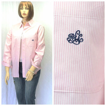 Vintage 80s Ralph Lauren pink/white striped oxford shirt L Lauren preppy long sleeve button down cotton blouse size14 SunnyBohoVintage