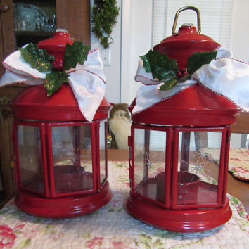 Up-Cycled Red Tea Light Lantern - With White Bow and Holly Accents