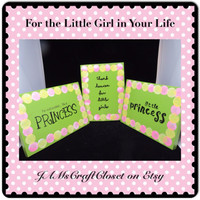 Green Wooden Sign-Princess-Wall Hanging-Handmade-Hand Painted-Unique-One of a Kind-Home Decor-Wall Art-Girls Room Decor-Gift-Nursery Decor