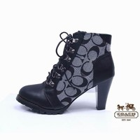 Coach Women Fashion Leather Strappy Short Boots Heels Shoes