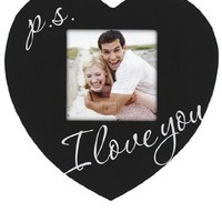 Malden Celebrated Moments Black Wood Heart Picture Frame, P.S. I Love You, 3.5 by 3.5-Inch