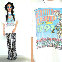 Vintage 1992 GRATEFUL DEAD Spring Tour White T Shirt // 90s Band Tee // Hippie Hipster Boho // XS Extra Small / Small / Medium / Large