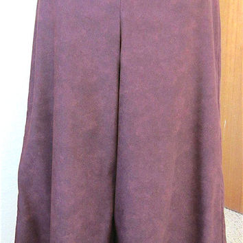 Vintage 90's Wine Leather Print Moleskin Split-Skirt Handmade Gauchos Wide Leg Pants Comfortable Practical Classic Country Style Ladies Gift