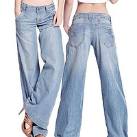 Women's Fashion Slim Temperament Casual Vintage Wide-legged Jeans Flared Trousers