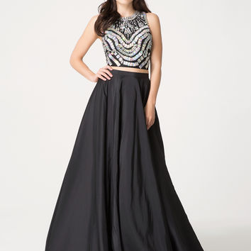 bebe Womens Embellished 2-Piece Gown Black