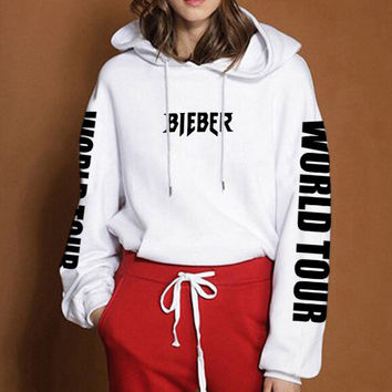 Purpose Tour Fashion Drawstring Print Long Sleeve Top Sweater Pullover Hoodie