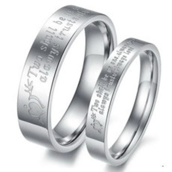 Cupid's Arrow Couple Stainless Steel Comfort Fit Wedding Bands Promise Ring [7670025414]