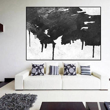 large original painting mid century modern wall art black and white, large abstract painting, extra large wall art, Contemporary Painting