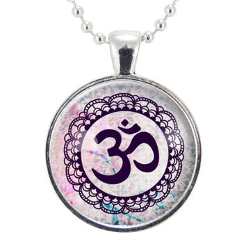 Om Symbol Necklace, Spiritual Buddhist Yoga Pendant, Buddha Jewelry