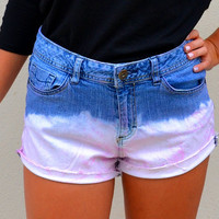 High waisted pink dip dyed bleached denim shorts with jewels