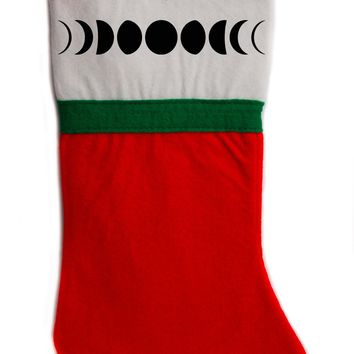 "Luna Moon Phases Christmas Holiday Stocking 16"" Red/White Felt Hanging Sock Santa Stuffer Merry Gothmas"
